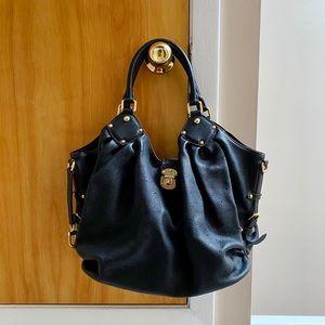 Louis Vuitton Monogram Mahina L Black Hobo Bag
